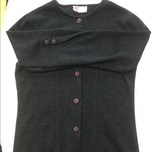 VINTAGE ladies' grey knit cardigan with pockets